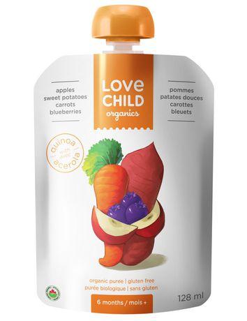 Purée sans gluten de pommes, patates douces, carottes et myrtilles biologiques de Love Child - image 1 de 3