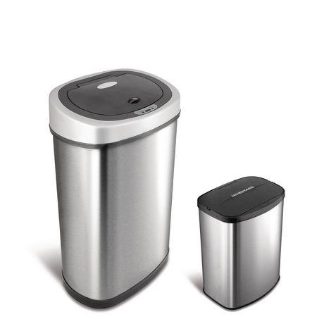 Nine Stars Motion Sensor Touchless 13.2-Gallon and 2.1 Gallon Trash Can Combo - image 1 of 6