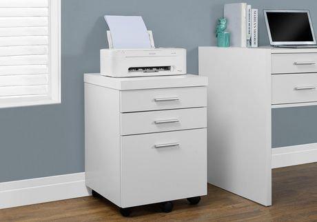 monarch specialties classeur avec 3 tiroirs sur rouelettes blanc walmart canada. Black Bedroom Furniture Sets. Home Design Ideas