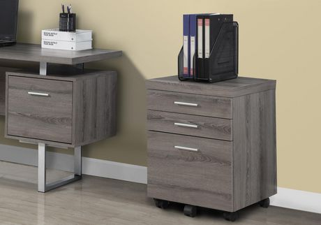 Monarch Specialties Filing Cabinet With 3 Drawer On Castors - Dark ...