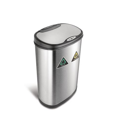 Nine Stars Stainless Silver Motion Sensor Recycle Unit & Trash Can - image 1 of 5