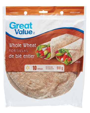 "Great Value Whole Wheat Tortillas 10"" - image 1 of 2"