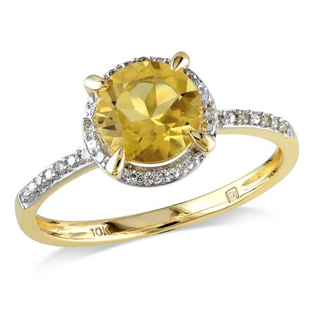 b9f5e356a92 Tangelo 1.25 Carat T.G.W. Citrine and Diamond-Accent 10 K Yellow Gold Halo  Ring ...
