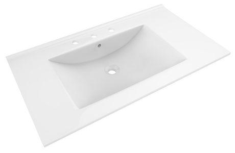 Lavabo plateau en céramique blanc American Imaginations de 91,44cm de largeur et 50cm de profondeur pour un robinet de 20 cm. - image 1 de 1