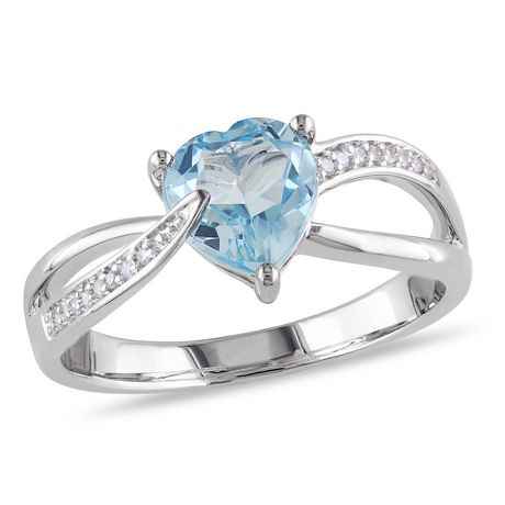 Tangelo 1.33 Carat T.G.W. Blue Topaz and Diamond-Accent Sterling Silver Cross-Over Heart Ring - image 1 of 4