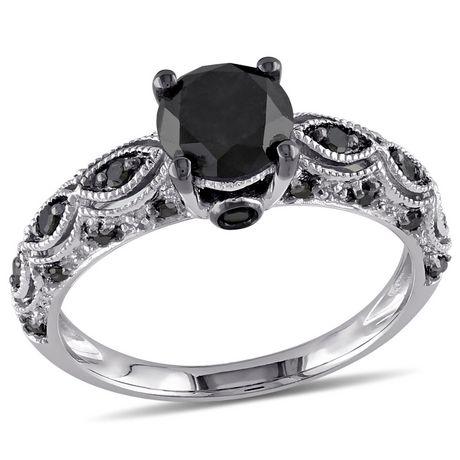 1.25 Carat T.W. Black Diamond 10 K White Gold Engagement Ring | Walmart  Canada