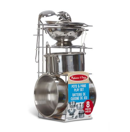 Melissa & Doug 8-Piece Stainless Steel What's Cooking Pots and Pans Restaurant and Kitchen Play Set - image 4 of 6