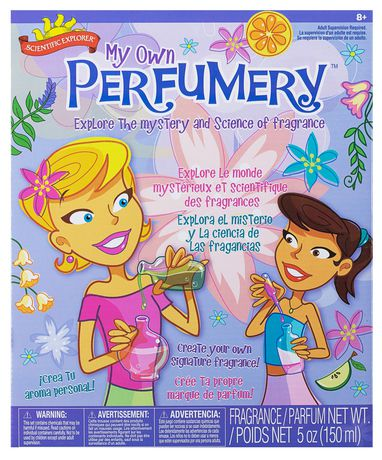 Purple box from Scientific Explorer showing two female animated girls on the cover playing with the My Own Perfumery game