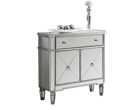 Monarch Specialties Brushed Silver Mirror Accent Table