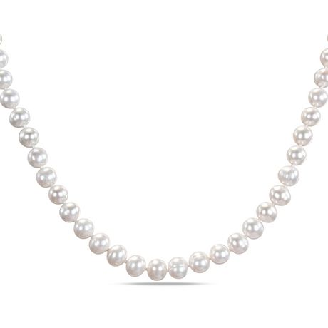 Miabella 8 9mm White Freshwater Cultured Knotted Pearl