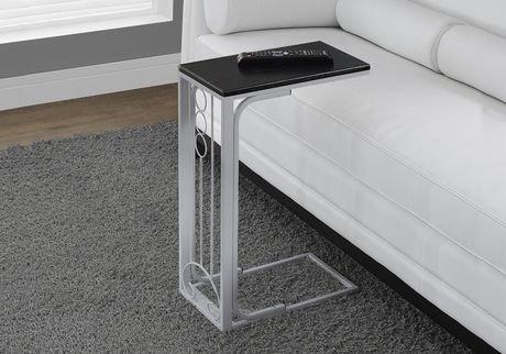 table d 39 appoint monarch specialties en noir argent. Black Bedroom Furniture Sets. Home Design Ideas