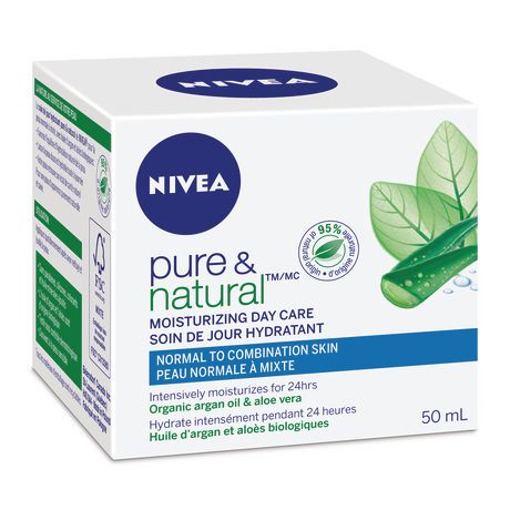 nivea pure natural moisturizing organic argan oil aloe vera day care cream for normal to. Black Bedroom Furniture Sets. Home Design Ideas