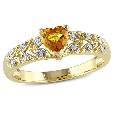 Tangelo 0.63 Carat T.G.W Yellow Sapphire and Diamond-Accent 10 K Yellow Gold Heart Ring - image 1 of 4