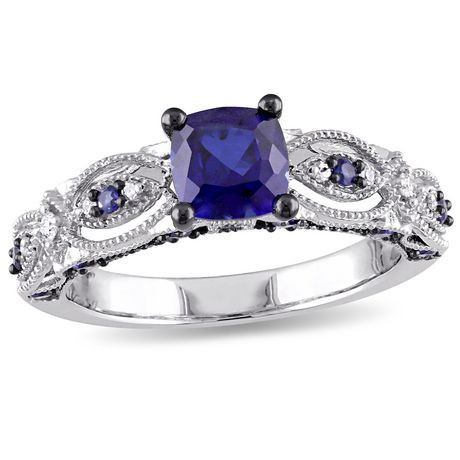 and rings halo sapphire diamond accent custom blue engagement ring