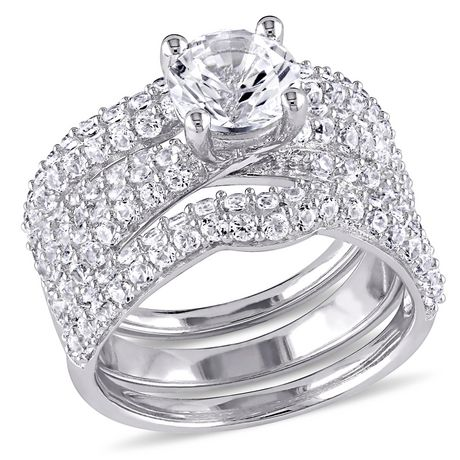 Miabella 4.21 Ct Created White Sapphire Sterling Silver Bridal Set - image 1 of 4