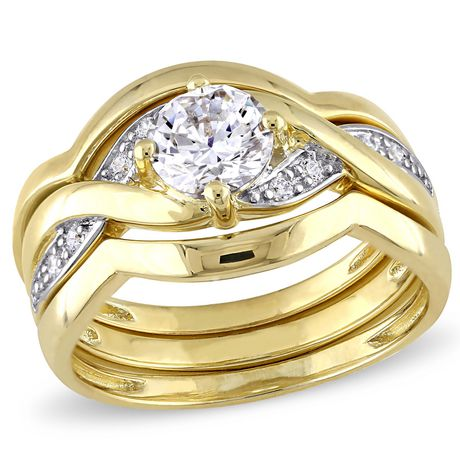 Miabella 1.50 Carat T.G.W Cubic Zirconia Yellow Rhodium-Plated Sterling Silver Bridal Set - image 1 of 5