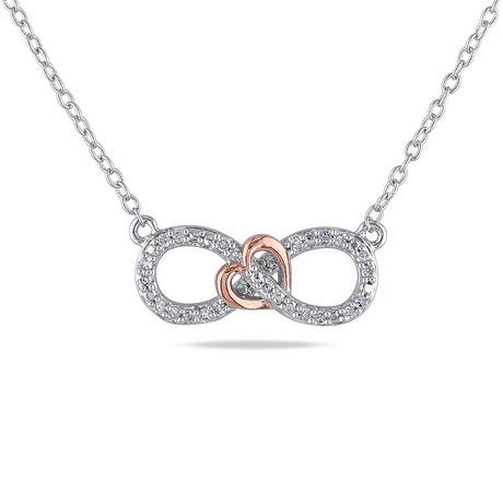 Miabella 0 10 Carat T W Diamond Two Tone Sterling Silver