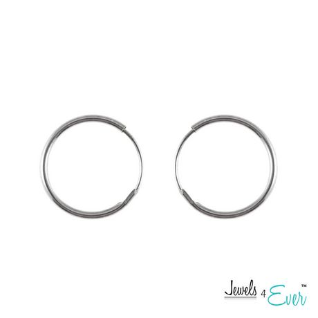 9a2f3bc34 Jewels 4 Ever 10KT White Gold 12 mm Hoop Earrings - image 1 of 1 ...
