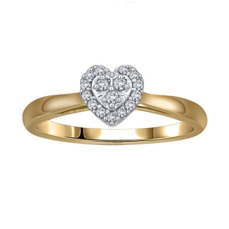 0 09Ct T W Diamond Heart Shaped Engagement Ring in 10K Yellow