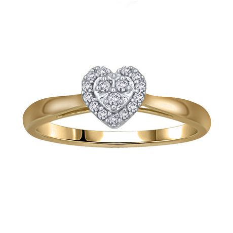 0.09Ct T.W. Diamond Heart Shaped Engagement Ring In 10K Yellow Gold |  Walmart Canada