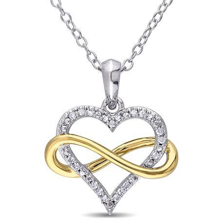 offre mode de vente chaude 100% authentifié Pendentif de forme cœur et infini Miabella avec diamants 0,10 CT poids  total en argent sterling double ton de 18 po