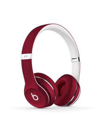 Red and white on-ear beats by dr. dre headphones with logo on earcup
