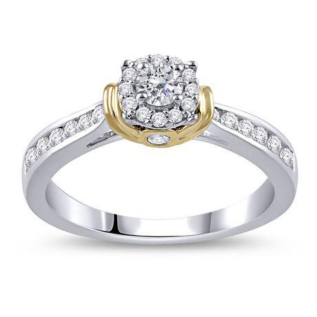 Bague de fiançailles diamant 0,45 carats poids total en or deux tons 10 carats. - image 1 de 4