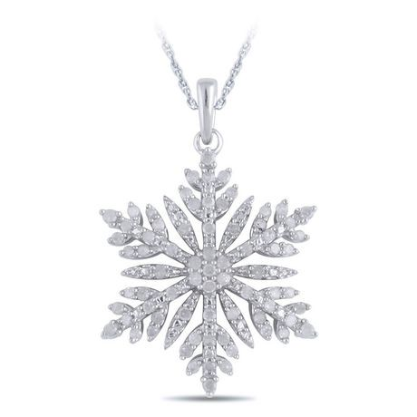 045 ct tw diamond snowflake pendant in sterling silver with 18 045 ct tw diamond snowflake pendant in sterling silver with 18 chain walmart canada mozeypictures Gallery