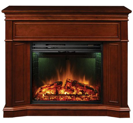 Muskoka Electric Fireplace With Corner Option And 28 Full View Insert Burnished Cherry