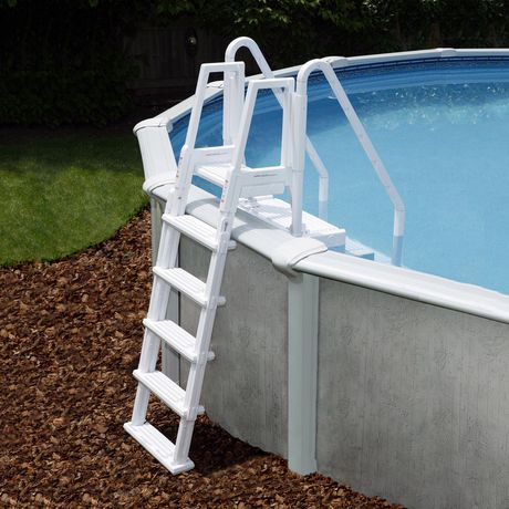Easy pool step with outside ladder for above ground pools for Above ground pool decks walmart