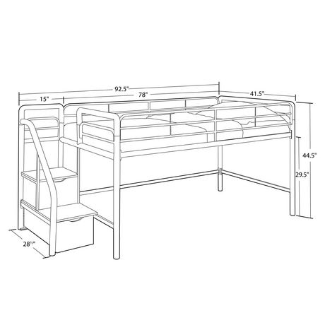 Dhp Junior Twin Loft Bed With Storage Steps Walmart Canada