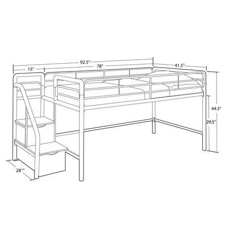 lit mezzanine une place junior avec marches incluant un espace de rangement walmart canada. Black Bedroom Furniture Sets. Home Design Ideas