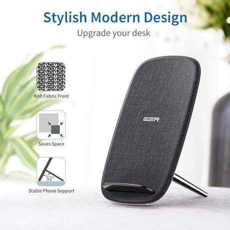 ESR 5W/10W Wireless Charger Premium Fabric Kickstand, Argent - image 1 de 2