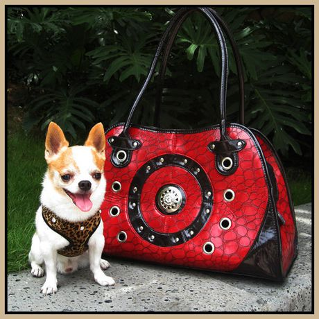 Cool Runners Faux Red & Black Leather Pet Carrier - image 1 of 3