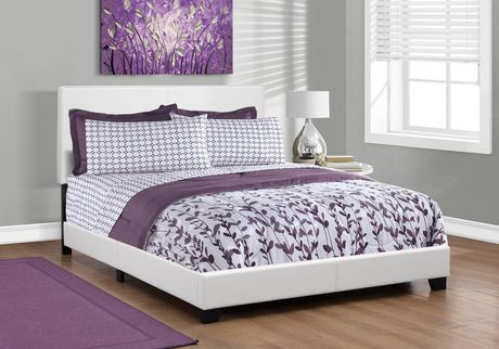 Monarch Specialties Inc Monarch Specialties Leather-Look White Bed ...