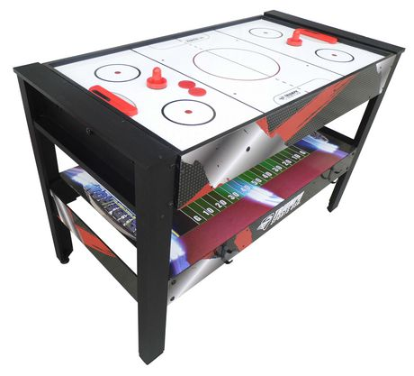 Rotating game table with air hockey displayed and 3 other games underneath, made by Triumph Sports