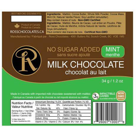 Barre de chocolat au lait et à la menthe sans sucre ajouté de Ross Chocolates - image 2 de 2