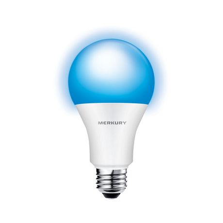 White and blue Wi-Fi LED smart light bulb from Merkury