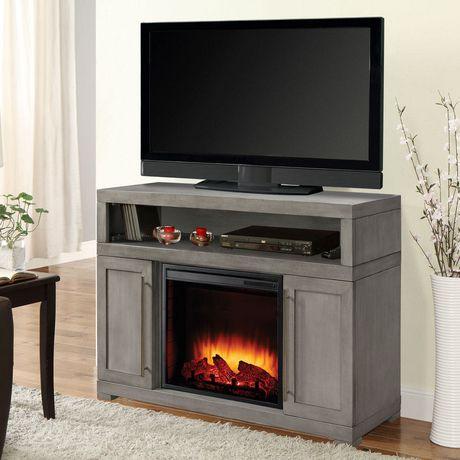 Muskoka Mackenzie 48 Light Weathered Grey Finish Media Electric Fireplace Walmart Canada