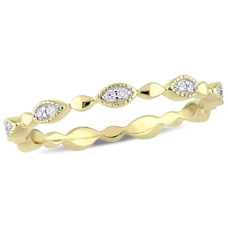 Miabella 1/10 Carat T.W. Diamond 10 K Yellow Gold Marquise Eternity Anniversary Ring - image 1 of 5
