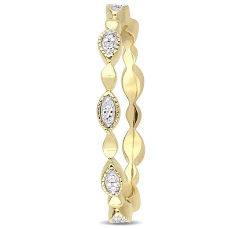 Miabella 1/10 Carat T.W. Diamond 10 K Yellow Gold Marquise Eternity Anniversary Ring - image 2 of 5