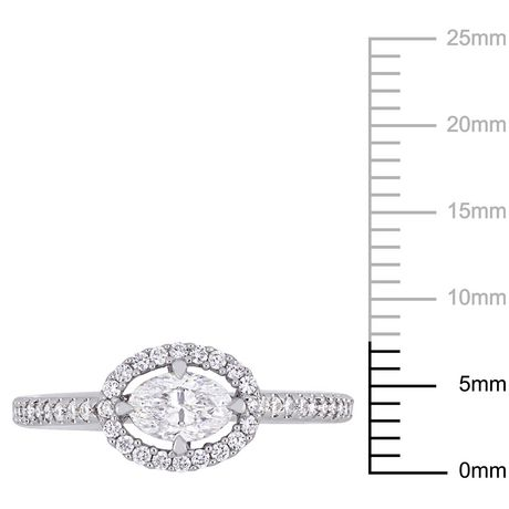 Miabella 3/4 Carat T.W. Oval-Cut Diamond 14 K White Gold Floating Halo Engagement Ring - image 3 of 5