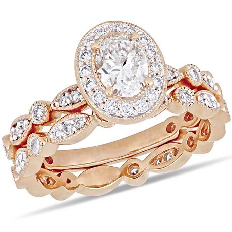 Ensemble de mariage rétro auréole Miabella avec diamants 1 CT poids total en or rosé 14K - image 1 de 5