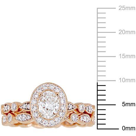 Ensemble de mariage rétro auréole Miabella avec diamants 1 CT poids total en or rosé 14K - image 3 de 5