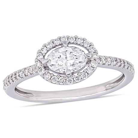 Miabella 3/4 Carat T.W. Oval-Cut Diamond 14 K White Gold Floating Halo Engagement Ring - image 1 of 5