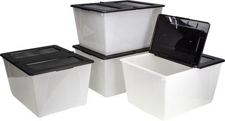 bac de rangement storex avec couvercle pliable. Black Bedroom Furniture Sets. Home Design Ideas