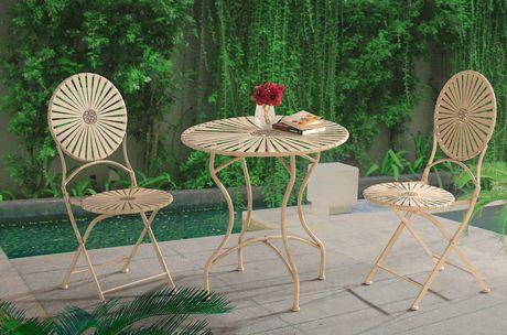 Sunjoy Sunjoy Antique White Steel Bistro Set Patio Furniture | Walmart  Canada
