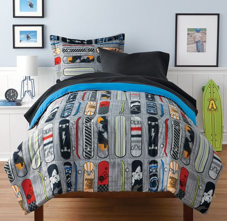 mainstays kids skateboard bed in a bag bedding set walmart canada. Black Bedroom Furniture Sets. Home Design Ideas