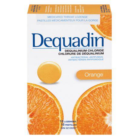 Pastille médicamenteuse pour la gorge Dequadin antibactérienne-antifongique à chlorure de déqualinium à saveur d'orange - image 1 de 4