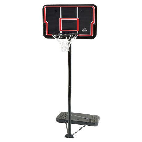 Basketball system with aluminum pole, black backboard and black base